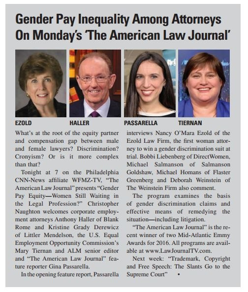 Philadelphia Employment Lawyers from Ezold Law Appears on ALJ Show to Discuss Gender Inequality